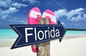 Florida arrow on the beach — Zdjęcie stockowe