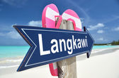 Langkawi sign on the tropical beach — Stock Photo