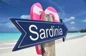 SARDINIA sign on the beach — Stock Photo