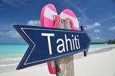 Tahiti sign on the beach — Zdjęcie stockowe