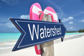 Watershed sign on the beach — Stock Photo