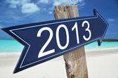 2013 sign on the beach — Stock Photo