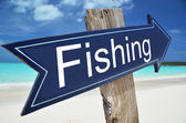 FISHING sign on the beach — Stock Photo