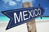 Meksyk znak na plaży — Zdjęcie stockowe