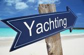 YACHTING sign on the beach — Zdjęcie stockowe
