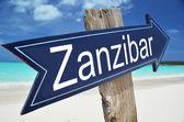 Zanzibar sign on the beach — Zdjęcie stockowe