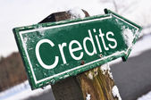 Credits road sign — Stock Photo