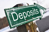 Deposits road sign — Stock Photo