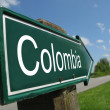 Colombia signpost along a rural road — Stock Photo
