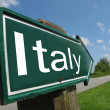 Italy signpost along a rural road — Stock Photo