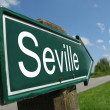 Seville signpost along a rural road — Foto de Stock