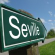 Seville signpost along a rural road — Foto Stock