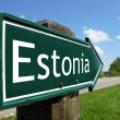 Estonia signpost along a rural road — Stock Photo