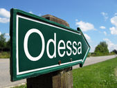 ODESSA signpost along a rural road — Stock Photo