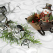 Jingle bells and snowman — Stock Photo