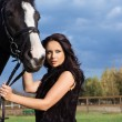 Woman with a horse — Foto Stock