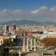 View of the Venetian Tower on Espanya square, Tibidabo on backg - Stock Photo