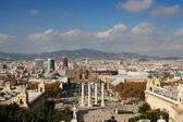View of the Venetian Tower on Espanya square, Tibidabo on backg — Foto Stock