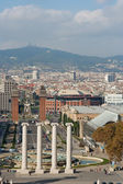 View of the Venetian Tower on Espanya square, Tibidabo on backg — 图库照片