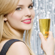 Smiling woman with glass of champagne — Stock Photo #2618506