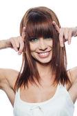 Porträtt av glad kvinna — Stockfoto