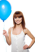 Woman holding balloon — Stock Photo