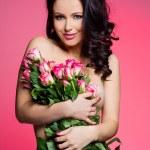 donna sexy con fiori — Foto Stock