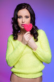 Woman with lolipop — Stock Photo
