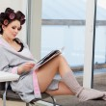 Pregnant woman reading press — Stock Photo #49280095