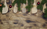 Christmas wooden spoons — Stock Photo