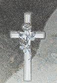 Cross engraved on a gravestone — Stock Photo