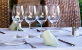 Table in the restaurant — Stock Photo