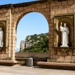Sculptures in the cloister Montserrat Monastery — Stock Photo