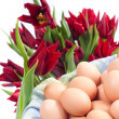 Eggs group and red tulips motion on white — Stock Photo