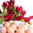 Stock Photo: Eggs and tulips