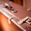 Stock Photo: Latch in suitcase sepitoned