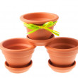 Earthenware flower pots and stands — Stock Photo