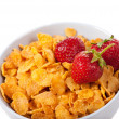 Cornflakes with strawberries — Stock Photo