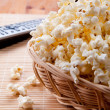 Popcorn in wickerwork — Stock Photo