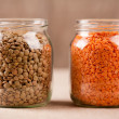 Stock Photo: Red and green lentil grains