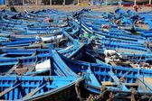 Blue fishing boats — Stock Photo
