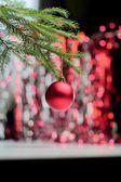 Boule de Noël rouge suspendu à la branche — Photo