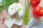 Cottage cheese with fresh vegetables — Stock Photo