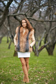 Portrait of beautiful young woman in fur — Stock Photo