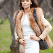 Portrait of beautiful young woman in fur - Stock Photo