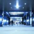 Stock Photo: Moving in underground passage. Tint blue