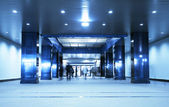 Moving in an underground passage. Tint blue — Foto Stock