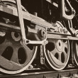 Wheels of steam locomotive — Stock Photo