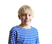 Portrait of adorable young blonde boy in frock — Stock Photo
