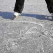 Ice skating outdoors pond freezing winter — Stock Photo